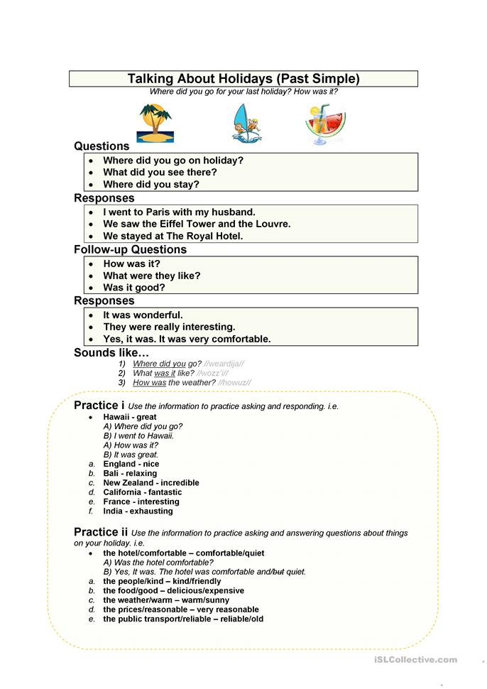 My Holiday (Simple Past) - ESL worksheets