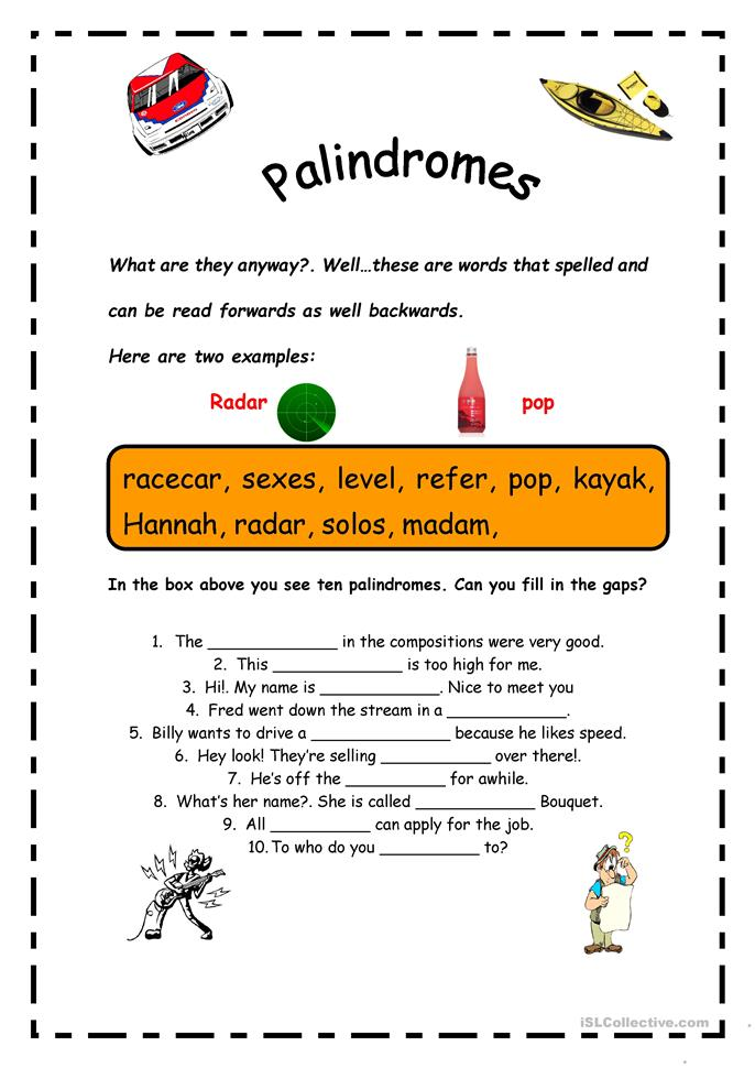 Worksheets Palindrome Riddles Worksheet palindrome worksheet sharebrowse palindromes free esl printable worksheets made by teachers
