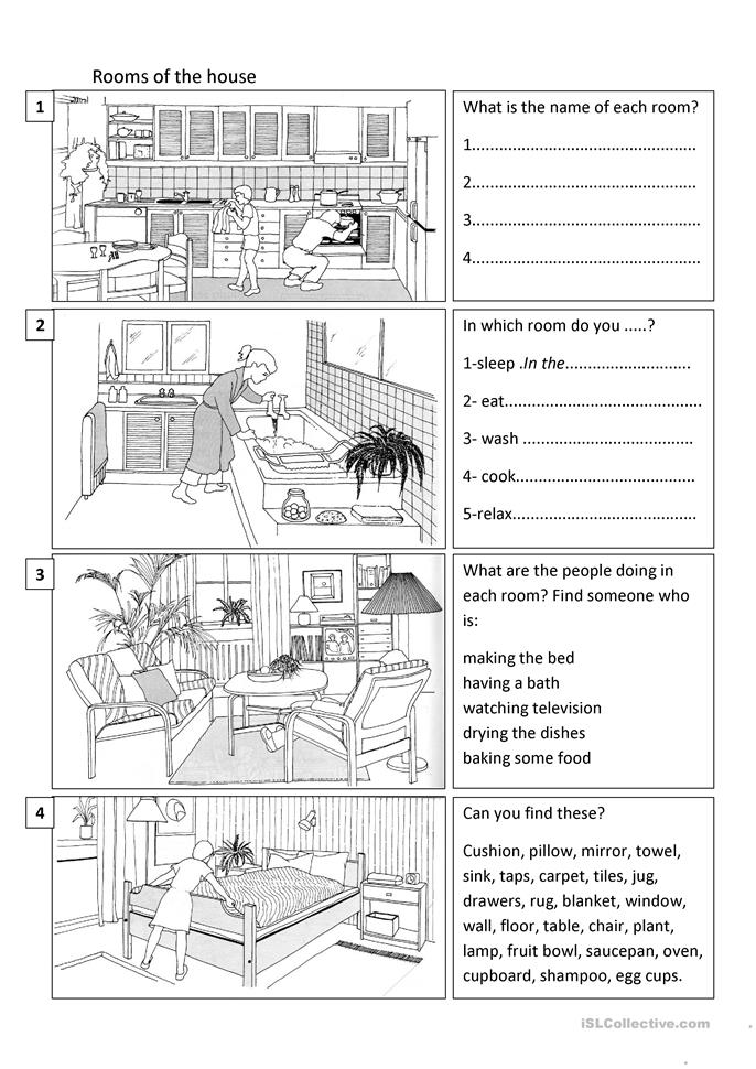 Rooms of the House - ESL worksheets
