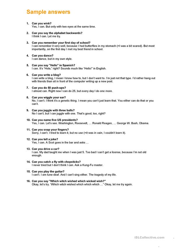 can you ability questions answers set 2 worksheet free esl printable worksheets made. Black Bedroom Furniture Sets. Home Design Ideas