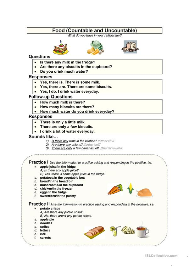 Teaching Countable And Uncountable Nouns Lesson Plan on examples exercises, food drinks exercise, for grade 2,