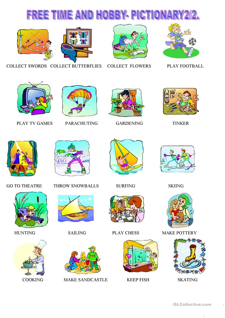 free time and hobby pictionary 2 2 worksheet free esl printable worksheets made by teachers. Black Bedroom Furniture Sets. Home Design Ideas
