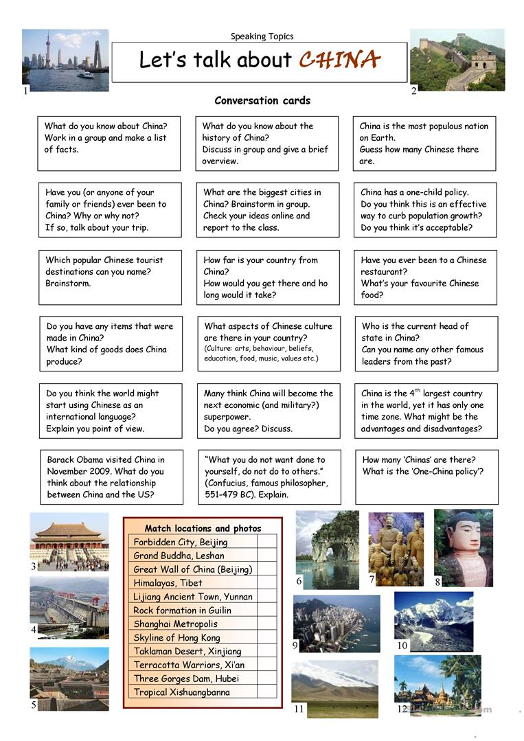 30 FREE ESL china worksheets – China Worksheets