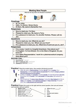 238 free esl greetings worksheets meeting new people esl worksheets m4hsunfo