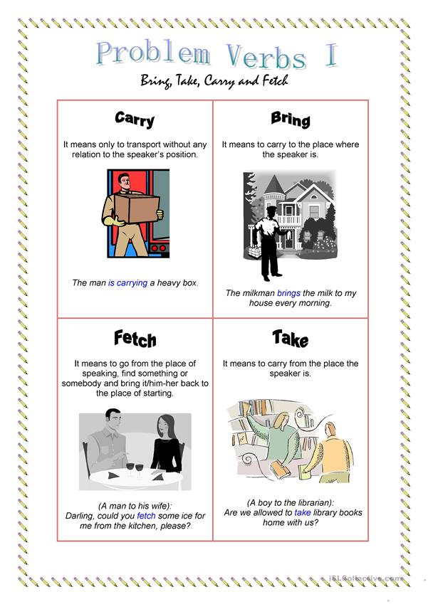 Problem Verbs I - Bring, take, carry, fetch