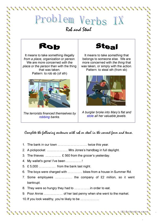 Problem Verbs IX - Rob and Steal