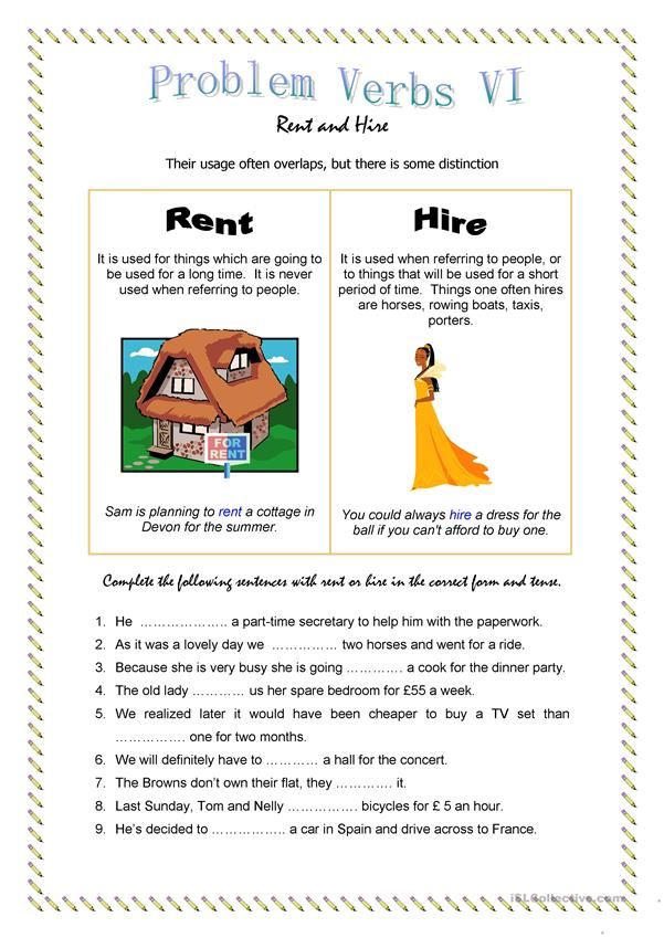 Problem Verbs VI - Rent and Hire