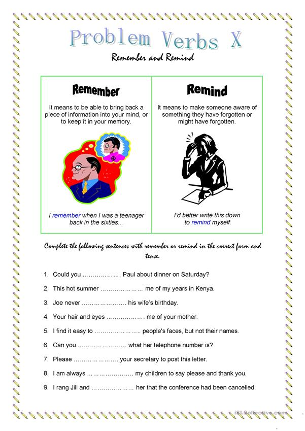 Problem Verbs X: Remember and Remind