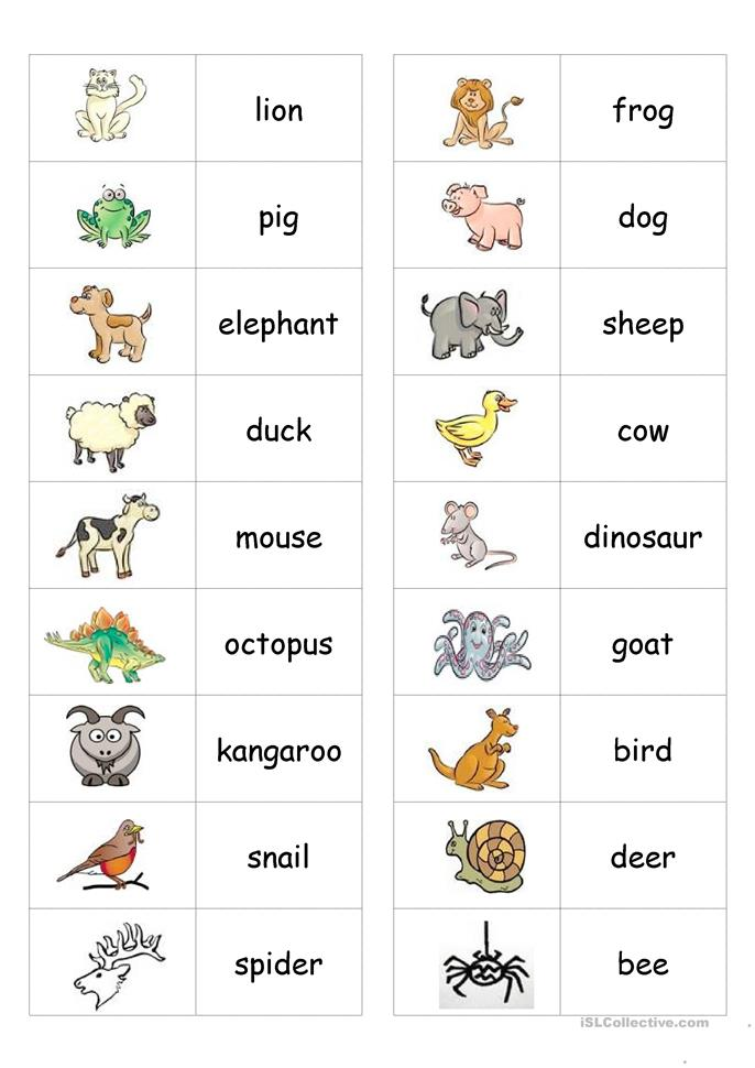 Animal Dominoes - ESL worksheets