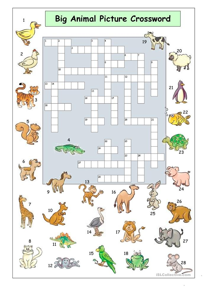 Big Animal Picture Crossword - ESL worksheets