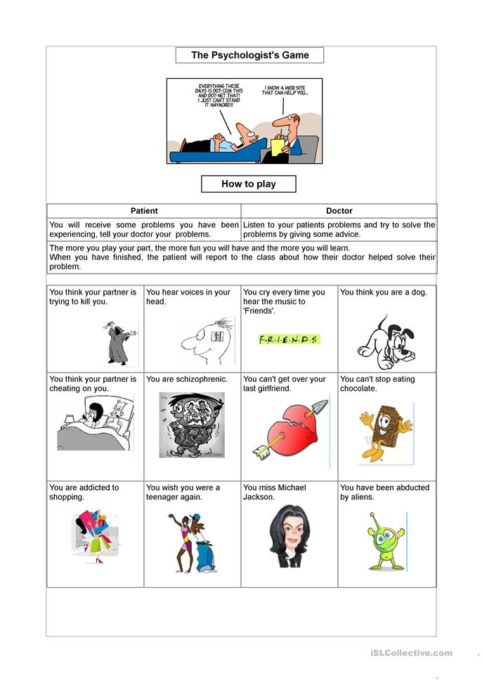 PSYCHOLOGIST'S GAME - ESL worksheets