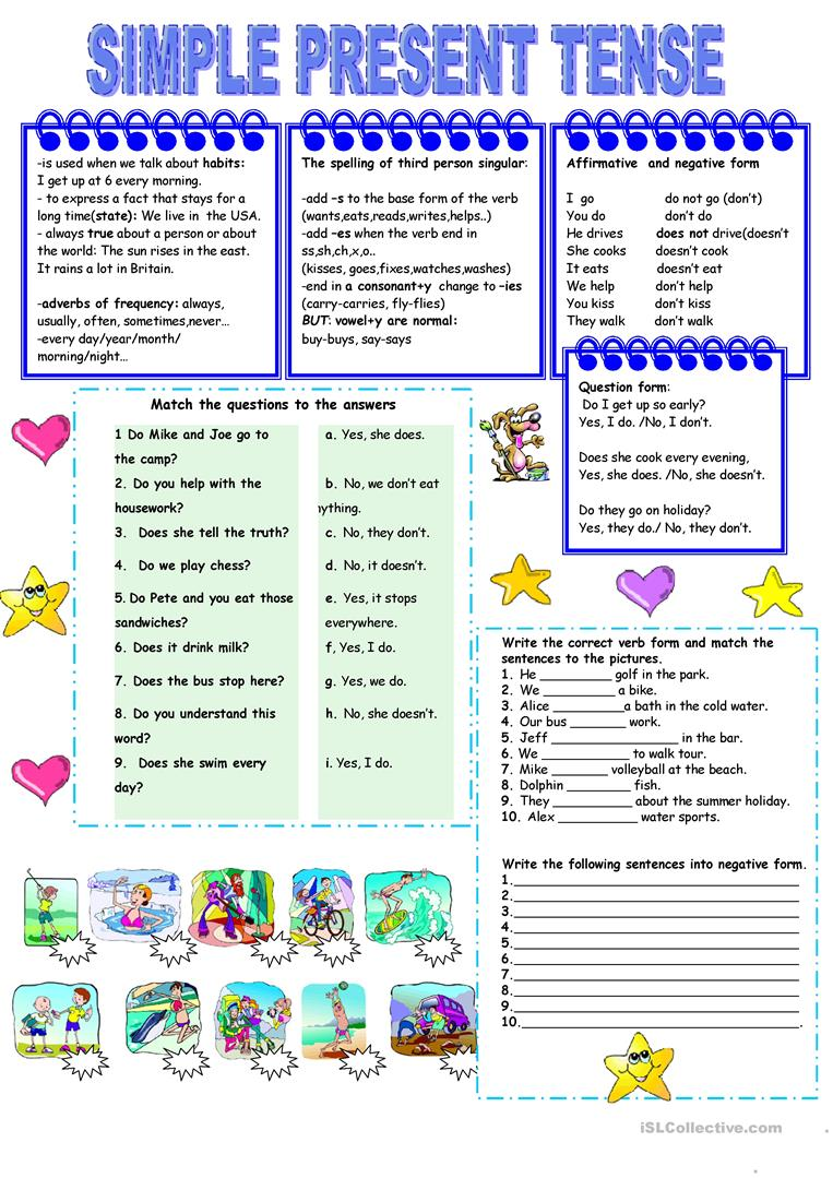 Present simple tense worksheet - Free ESL printable ...