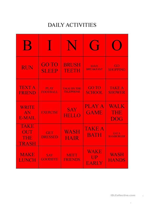 DAILY ACTIVITIES BINGO