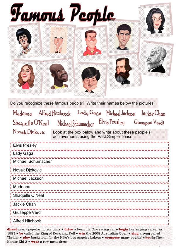 FAMOUS PEOPLE AND PAST SIMPLE