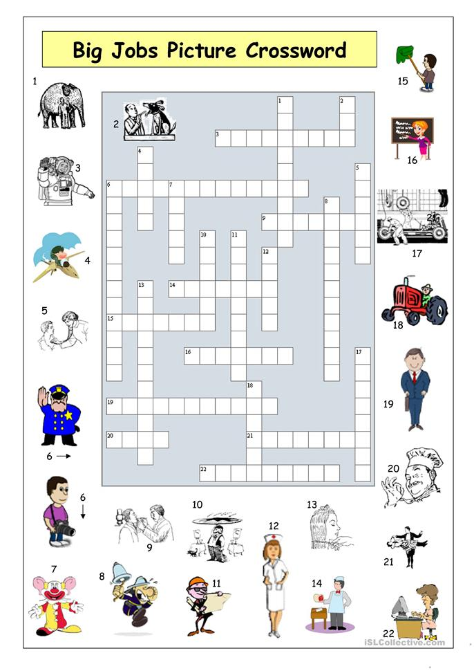 Big Jobs Picture Crossword - ESL worksheets