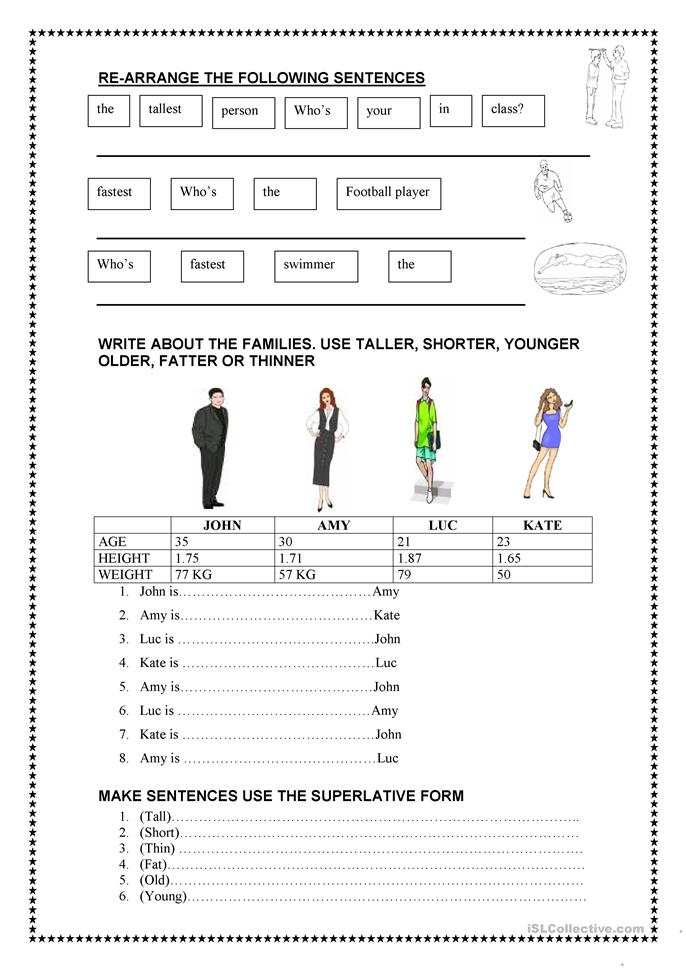 Comparatives - ESL worksheets