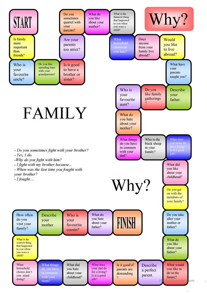 Family - a boardgame - ESL worksheets