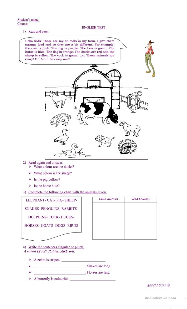 Farm Animal Worksheets : All worksheets farm reading comprehension