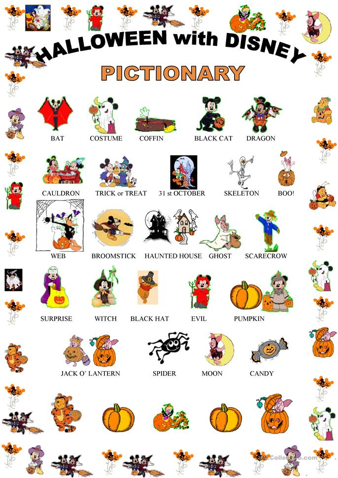 Halloween pictionary with Disney characters - ESL worksheets