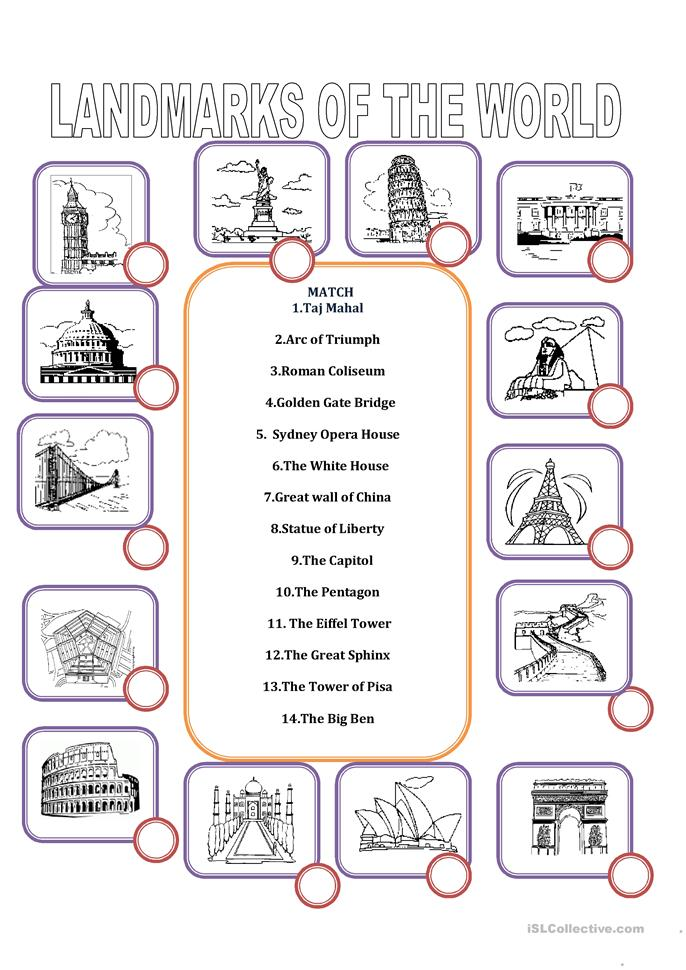 LANDMARKS OF THE WORLD worksheet - Free ESL printable worksheets ...