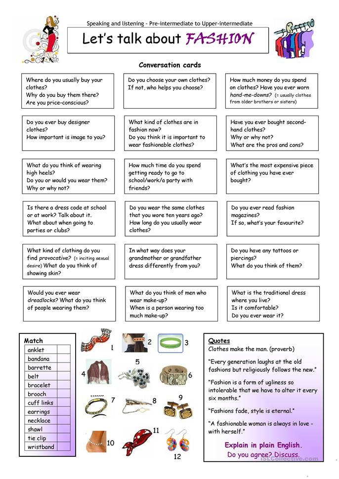 Let's Talk about Fashion - ESL worksheets
