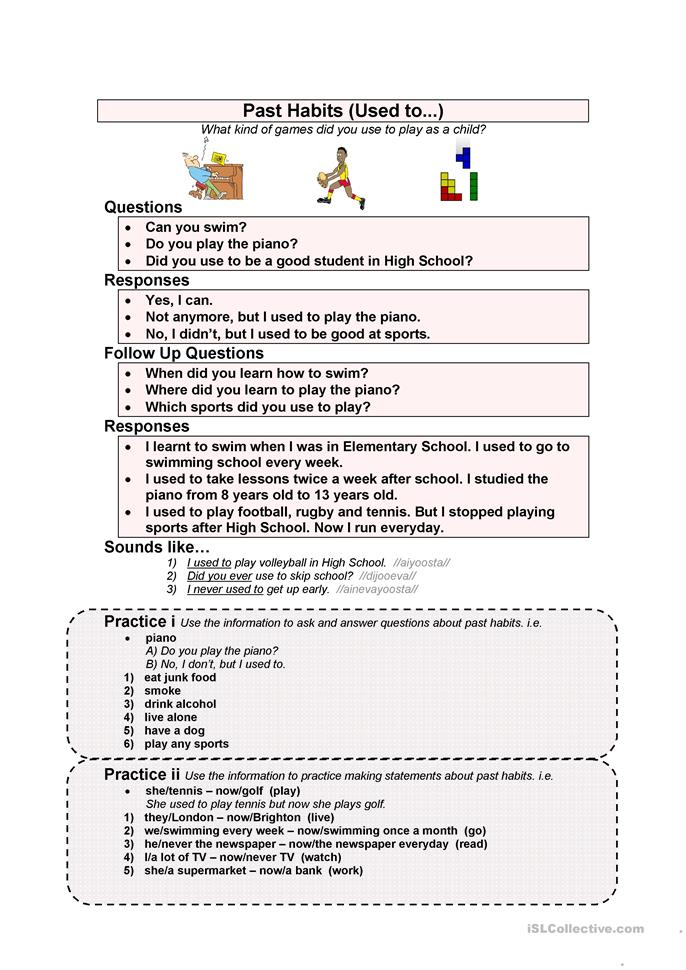 Past Habits (Used to...) - ESL worksheets