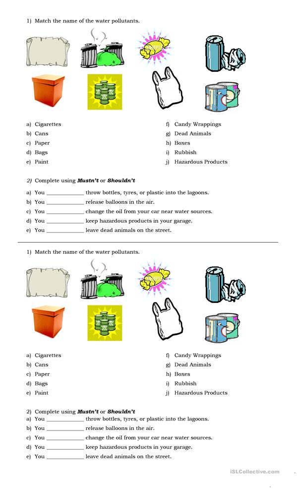 Shouldn't - mustn't - ESL worksheets