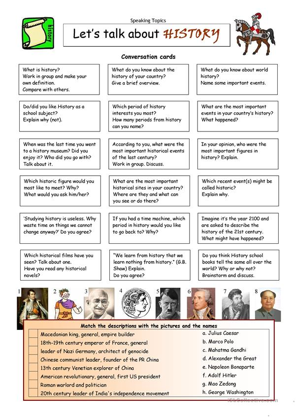 Let's Talk About History - English ESL Worksheets For Distance Learning And  Physical Classrooms