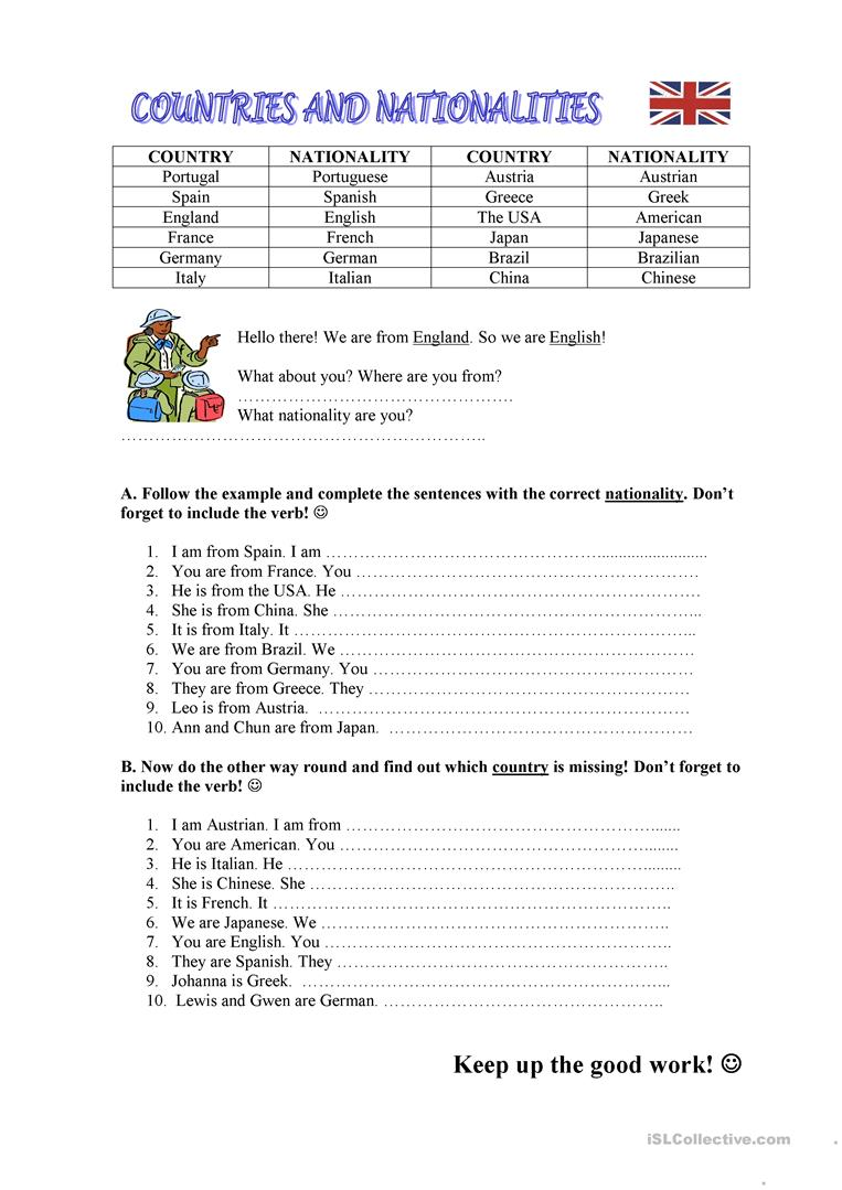 651 FREE ESL Countries worksheets