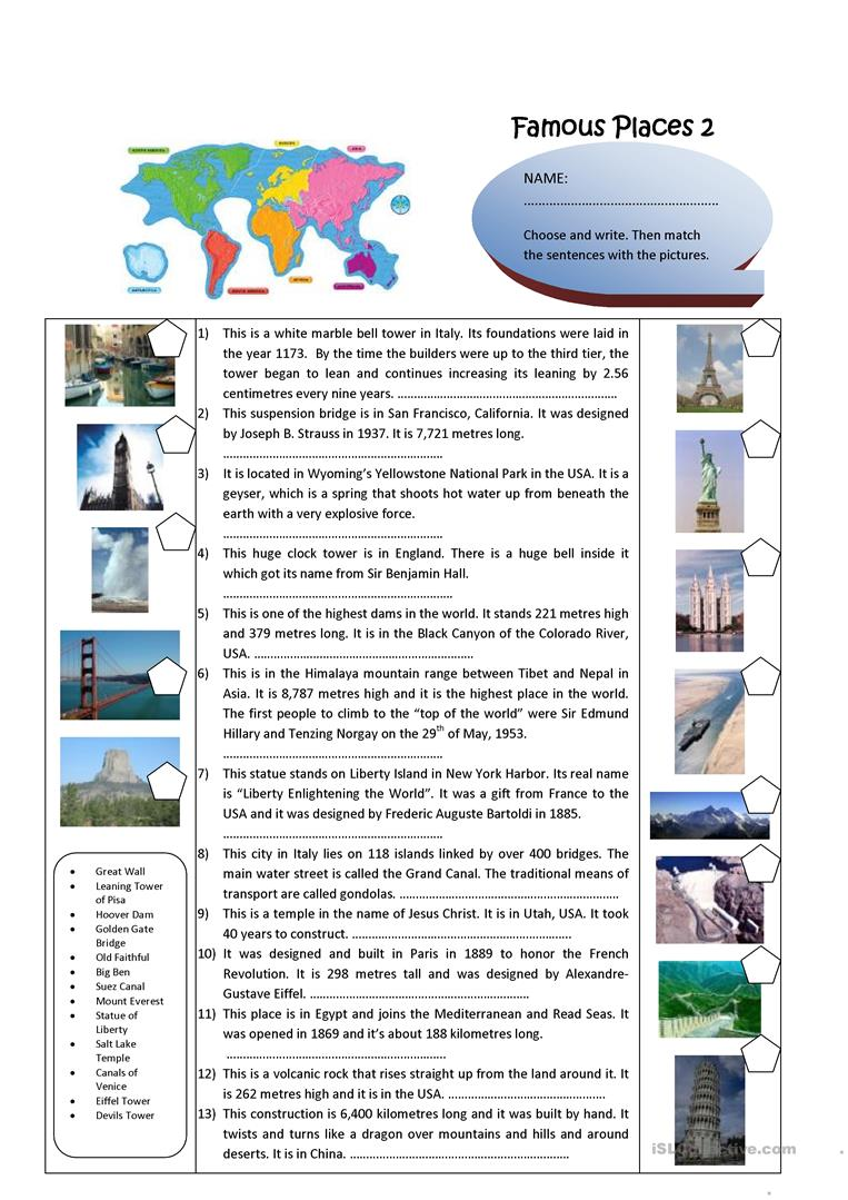 worksheet Yellowstone National Park Worksheets famous places worksheet free esl printable worksheets made by teachers full screen