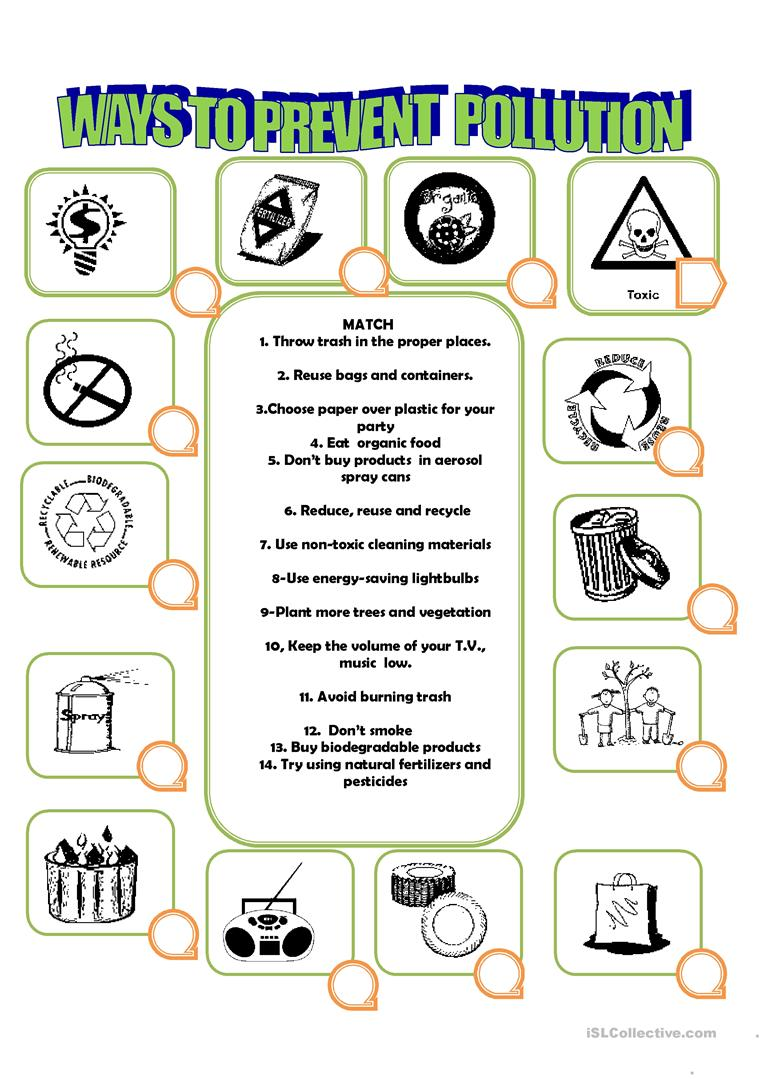 how to prevent pollution worksheet free esl printable worksheets made by teachers. Black Bedroom Furniture Sets. Home Design Ideas