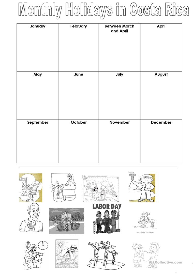 Monthly Holidays in Costa Rica worksheet - Free ESL printable ...
