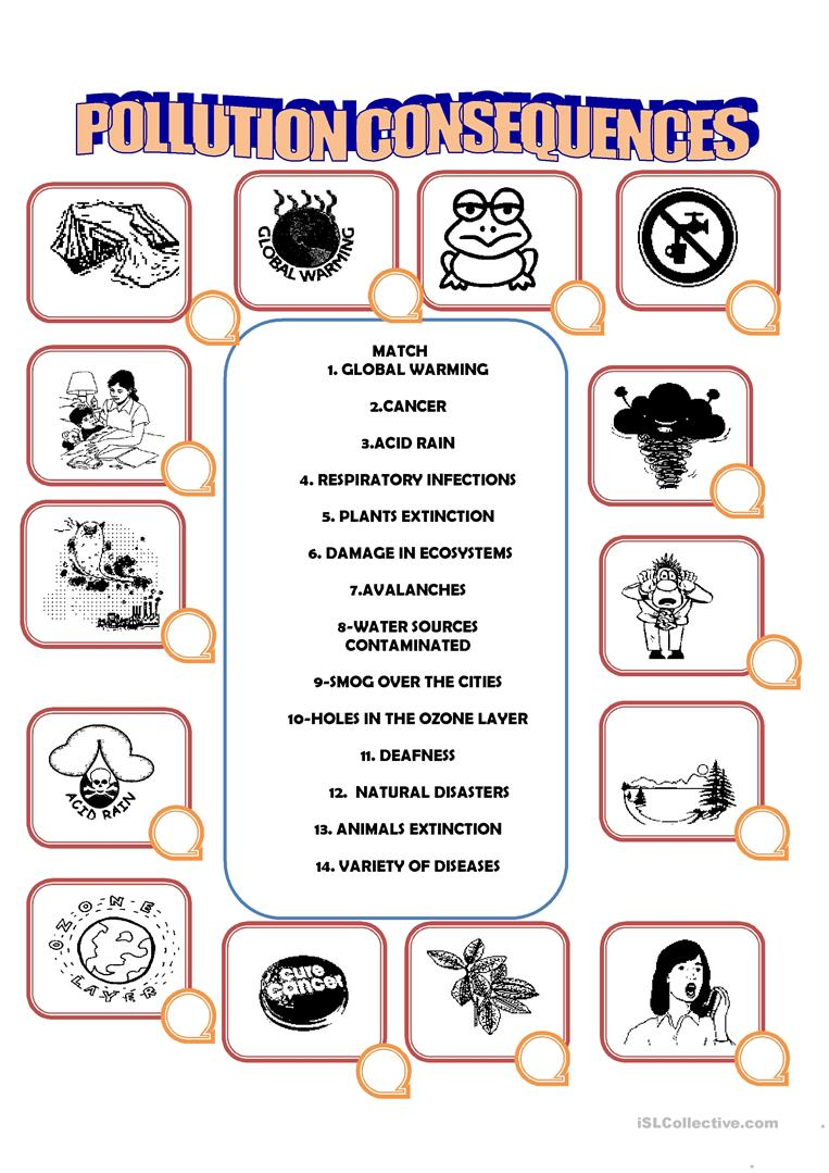 pollution consequences worksheet free esl printable worksheets made by teachers. Black Bedroom Furniture Sets. Home Design Ideas
