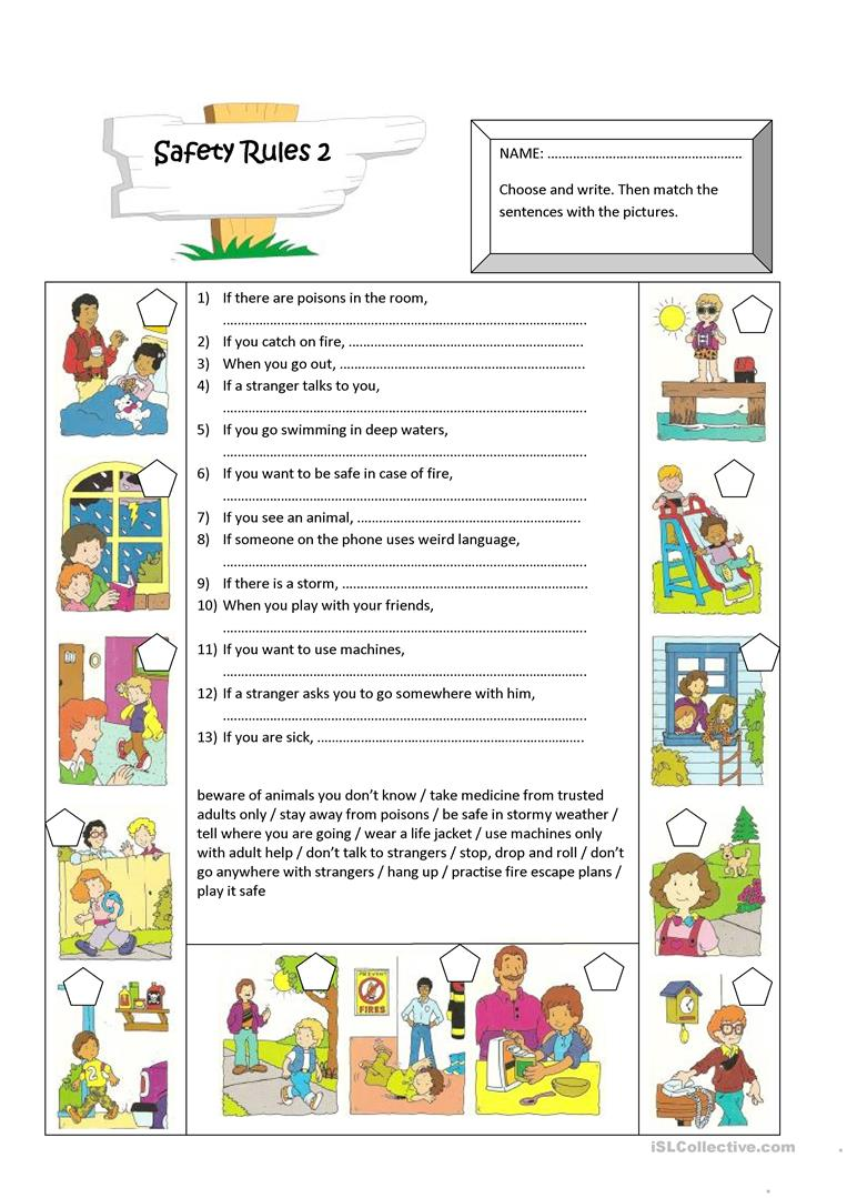 Free Worksheets senses worksheet kindergarten : Worksheet On Safety Rules - The Large and Most ...