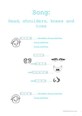 head shoulders knees and toes worksheet pdf