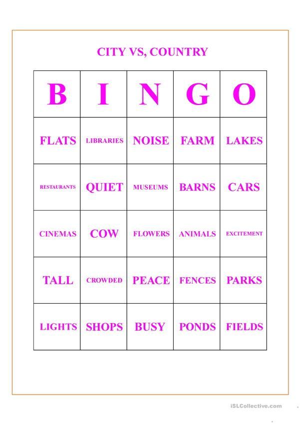 CITY VS. COUNTRY BINGO CARDS
