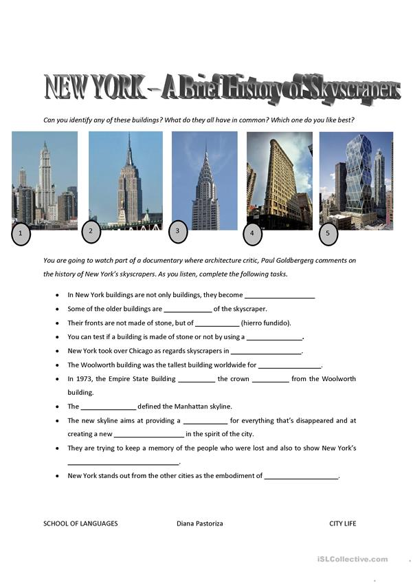 NY Skyscrapers - VIDEO Activity