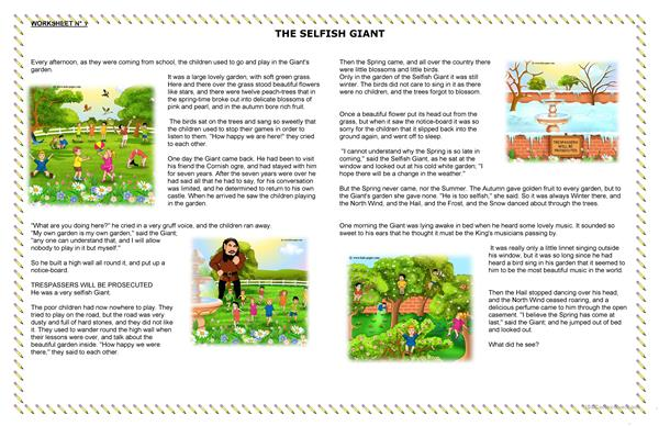 READING EXERCISE THE SELFISH GIANT
