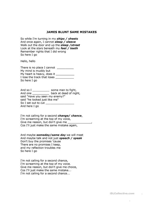 Song James Blunt exercise