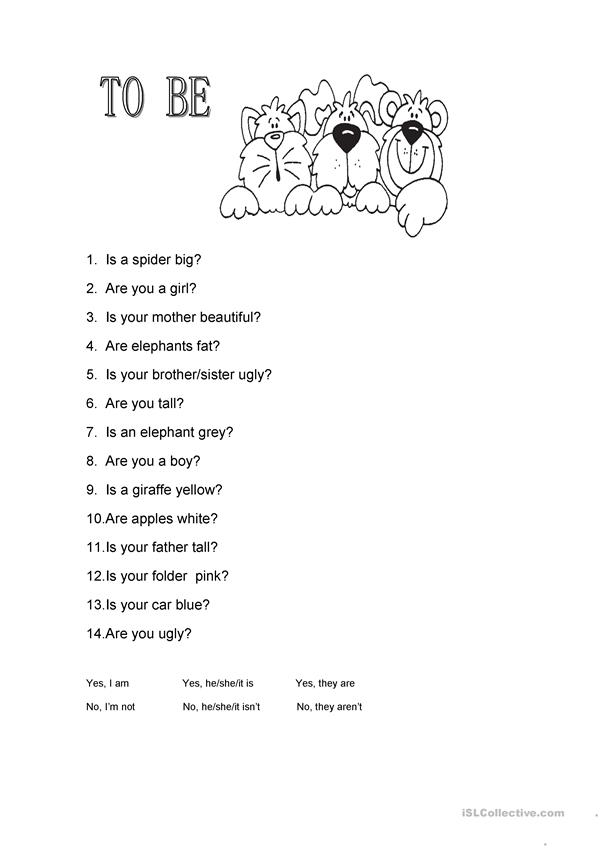 Verb to be short answers