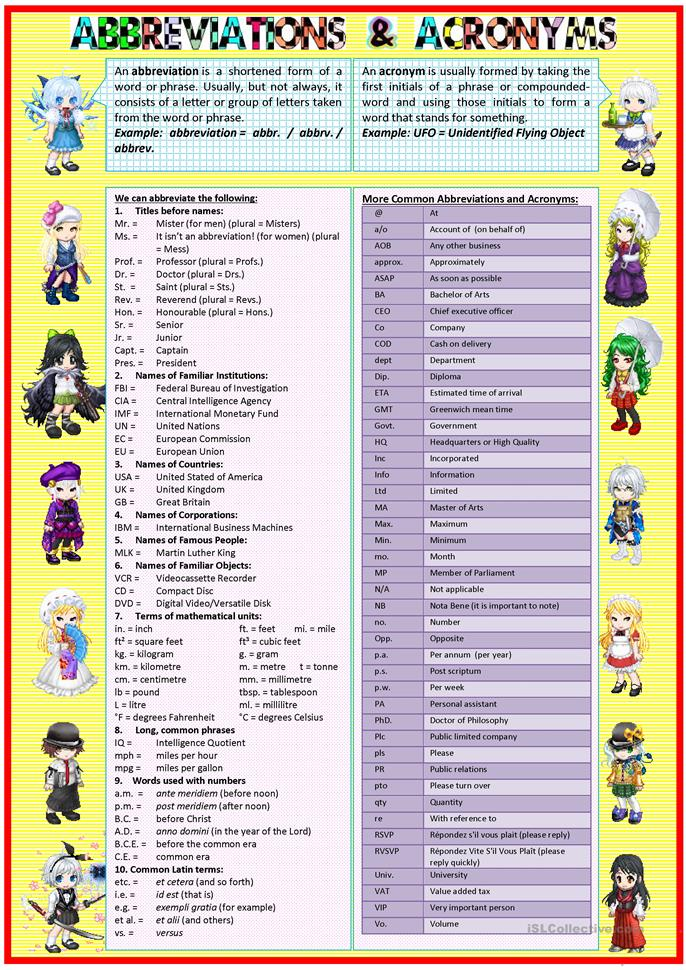 abbreviations  u0026 acronyms worksheet