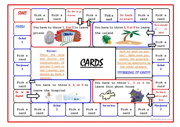 Boardgame/45 cards - ESL worksheets