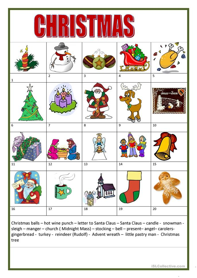 Christmas - ESL worksheets