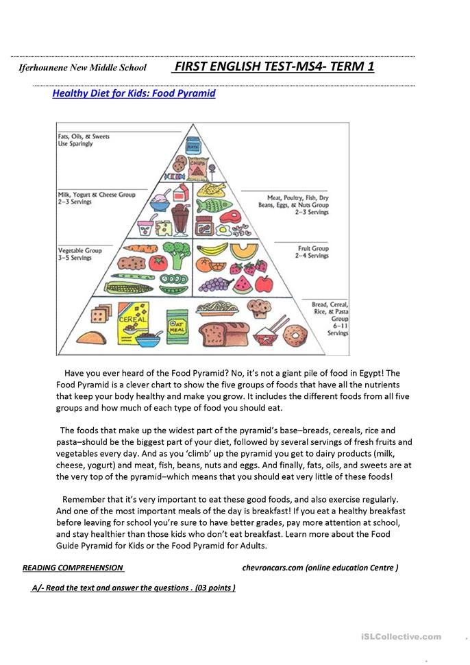 17 FREE ESL food pyramid worksheets