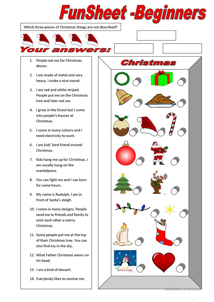 FunSheet for Beginners: Christmas - ESL worksheets