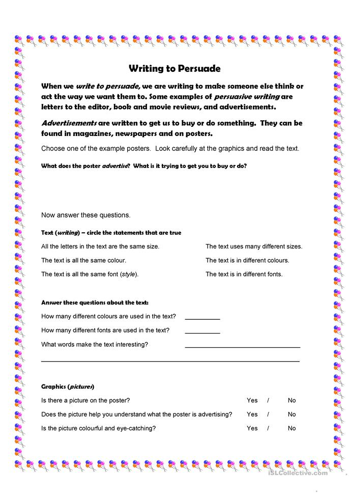 writing persuasive essays worksheets