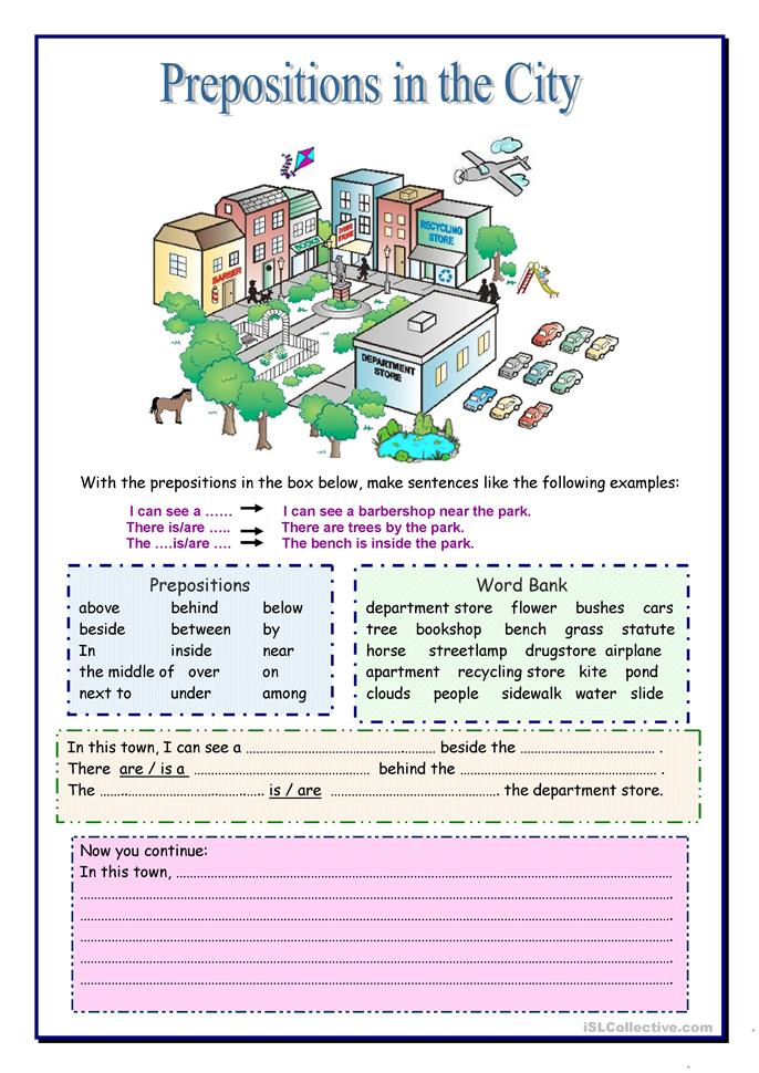 Prepositions in the City - ESL worksheets
