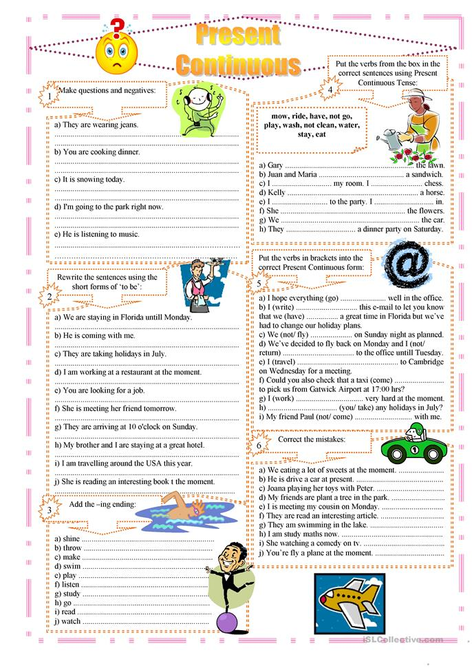Present Continuous exercises - ESL worksheets