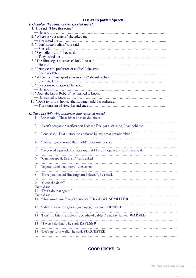 reported speech test - ESL worksheets