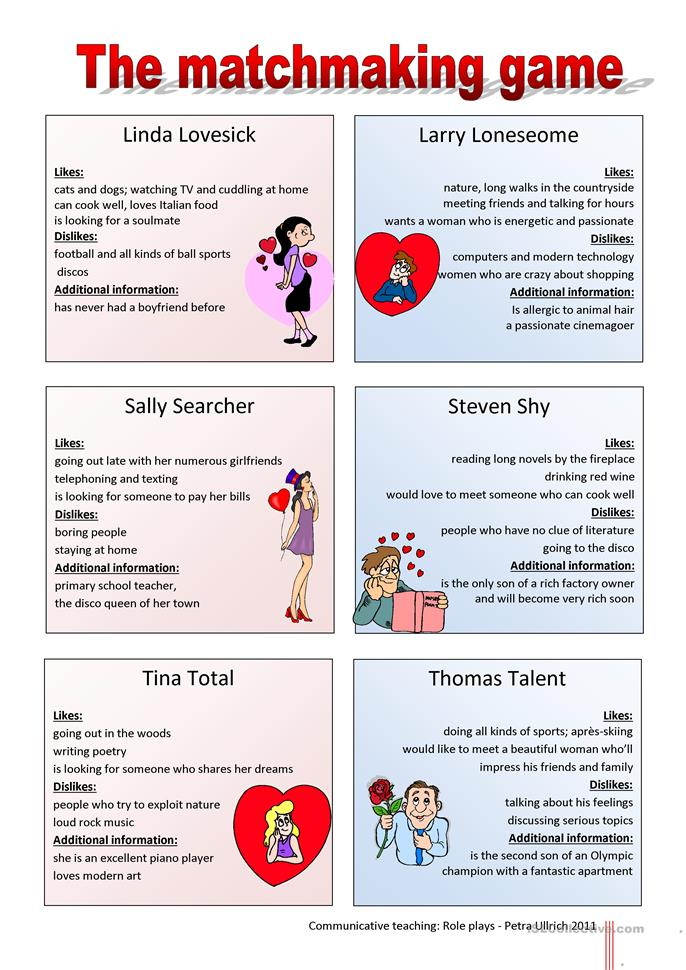 speed dating english activity Onestopenglish speed dating speed-dating lesson: student worksheet activity 1: warm-up (15 minutes) speed-dating questions 1 how many different ways can you think of meeting a partner.